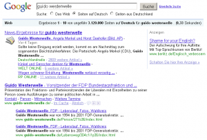 "Google SERP´s zu Guido Westerwell ""Shame for your english""-Anzeige"